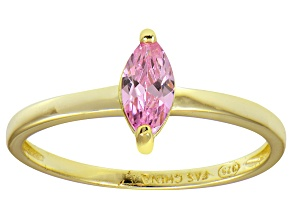 Bella Luce® 0.6ct Pink Diamond Simulant 18k Gold Over Silver Solitaire Ring