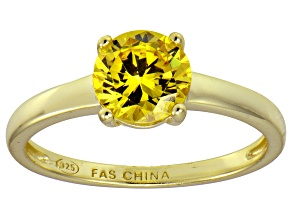 Bella Luce® 2.17ct Yellow Diamond Simulant 18k Gold Over Silver Solitaire Ring