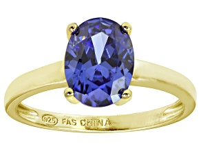 Bella Luce® 3.16ct Oval Tanzanite Simulant 18k Gold Over Silver Solitaire Ring