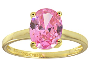 Bella Luce® 3.16ct Oval Pink Diamond Sim 18k Gold Over Silver Solitaire Ring