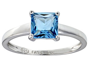 Blue Cubic Zirconia Rhodium Over Silver Solitaire Ring  2.10ct