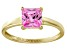 Bella Luce® 2.1ct Pink Diamond Simulant 18k Gold Over Silver Solitaire Ring