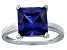 Bella Luce® 7.0ct Princess Cut Tanzanite Simulant Rhodium Over Silver Solitaire Ring
