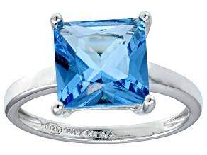 Bella Luce® 7.0ct Princess Cut Apatite Sim Rhodium Over Silver Solitaire Ring