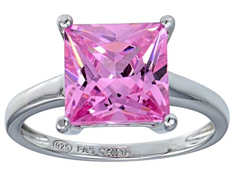 Bella Luce® 7.0ct Pink Diamond Simulant Rhodium Over Silver Solitaire Ring