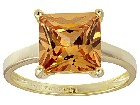 Bella Luce® 7.0ct Champagne Diamond Sim 18k Gold Over Silver Solitaire Ring