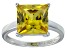 Bella Luce® 9.56ct Yellow Diamond Simulant Rhodium Over Silver Solitaire Ring