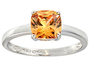 Champagne Cubic Zirconia Rhodium Over Silver Solitaire Ring 2.65ct