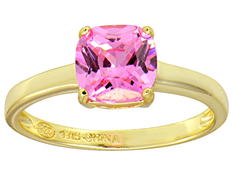 Bella Luce® 2.65ct Pink Diamond Simulant 18k Gold Over Silver Solitaire Ring