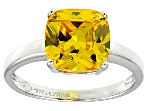Bella Luce® 5.95ct Yellow Diamond Simulant Rhodium Over Silver Solitaire Ring