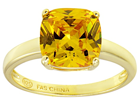 Bella Luce® 5.95ct Yellow Diamond Simulant 18k Gold Over Silver Solitaire Ring