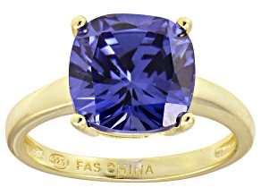 Bella Luce® 7.4ct Cushion Tanzanite Sim 18k Gold Over Silver Solitaire Ring