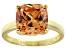 Bella Luce® 7.4ct Champagne Diamond Sim 18k Gold Over Silver Solitaire Ring