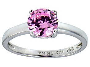 Bella Luce® 2.17ct Round Pink Diamond Sim Rhodium Over Silver Solitaire Ring