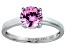 Pink Cubic Zirconia Rhodium Over Silver Solitaire Ring 2.17ct