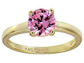Bella Luce® 2.17ct Pink Diamond Simulant 18k Gold Over Silver Solitaire Ring