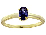 Bella Luce® .73ct Oval Tanzanite Simulant 18k Gold Over Silver Solitaire Ring