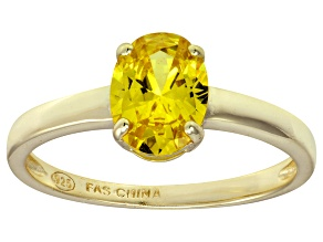 Bella Luce® 2.06ct Yellow Diamond Simulant 18k Gold Over Silver Solitaire Ring