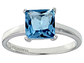 Bella Luce® 3.33ct Princess Cut Apatite Sim Rhodium Over Silver Solitaire Ring