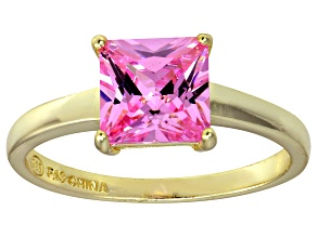 Bella Luce® 3.33ct Pink Diamond Simulant 18k Gold Over Silver Solitaire Ring