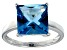 Bella Luce® 9.56ct Princess Cut Apatite Sim Rhodium Over Silver Solitaire Ring
