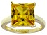 Bella Luce® 9.56ct Yellow Diamond Simulant 18k Gold Over Silver Solitaire Ring