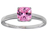 Bella Luce® 1.55ct Pink Diamond Simulant Rhodium Over Silver Solitaire Ring