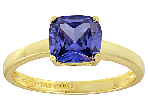 Bella Luce® 2.65ct Cushion Tanzanite Sim 18k Gold Over Silver Solitaire Ring