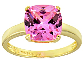 Bella Luce® 5.95ct Pink Diamond Simulant 18k Gold Over Silver Solitaire Ring