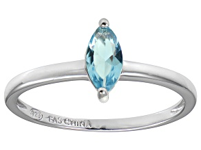 Bella Luce® 0.6ct Marquise Apatite Simulant Rhodium Over Silver Solitaire Ring