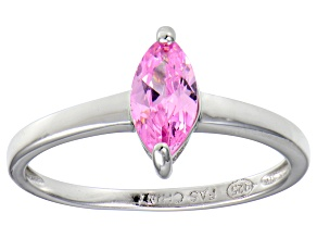 Bella Luce® 0.8ct Pink Diamond Simulant Rhodium Over Silver Solitaire Ring