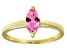 Bella Luce® 0.8ct Pink Diamond Simulant 18k Gold Over Silver Solitaire Ring