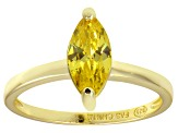 Bella Luce® 1.62ct Yellow Diamond Simulant 18k Gold Over Silver Solitaire Ring