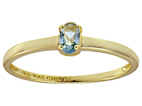 Bella Luce® .35ct Oval Apatite Simulant 18k Gold Over Silver Solitaire Ring