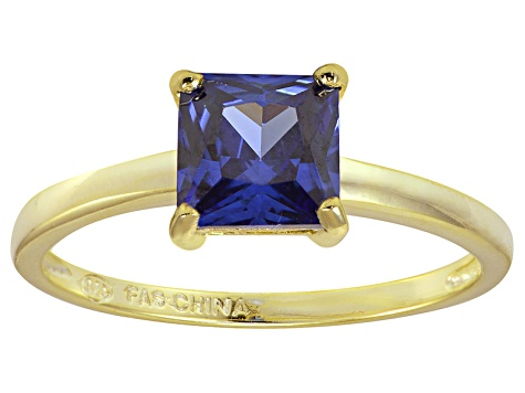 Bella Luce® 2.1ct Tanzanite Simulant 18k Gold Over Silver Solitaire Ring