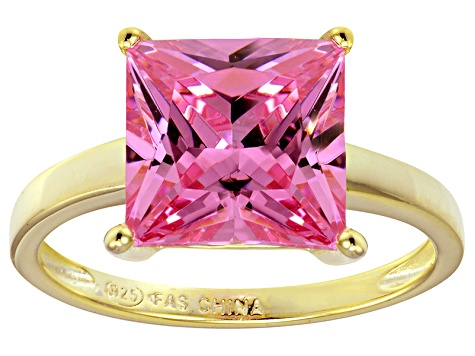 Bella Luce® 7.0ct Pink Diamond Simulant 18k Gold Over Silver Solitaire Ring