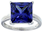 Bella Luce® 9.56ct Tanzanite Simulant Rhodium Over Silver Solitaire Ring