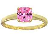 Bella Luce® 1.55ct Pink Diamond Simulant 18k Gold Over Silver Solitaire Ring