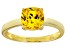 Bella Luce® 2.65ct Yellow Diamond Simulant 18k Gold Over Silver Solitaire Ring