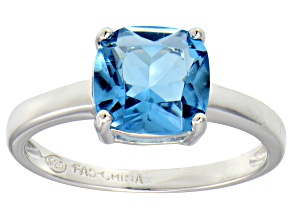 Bella Luce® 3.9ct Cushion Apatite Simulant Rhodium Over Silver Solitaire Ring
