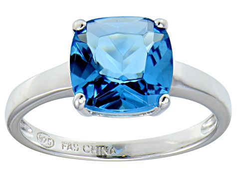 Bella Luce® 5.95ct Cushion Apatite Simulant Rhodium Over Silver Solitaire Ring