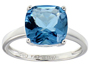Bella Luce® 7.4ct Cushion Apatite Simulant Rhodium Over Silver Solitaire Ring