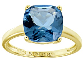 Bella Luce® 7.40ct Cushion Apatite Sim 18k Gold Over Silver Solitaire Ring
