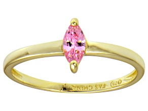 Bella Luce® .41ct Pink Diamond Simulant 18k Gold Over Silver Solitaire Ring