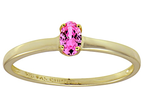 Bella Luce® .35ct Pink Diamond Simulant 18k Gold Over Silver Solitaire Ring