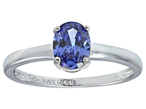 Bella Luce® 1.3ct Oval Tanzanite Simulant Rhodium Over Silver Solitaire Ring