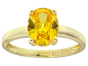 Bella Luce® 3.16ct Yellow Diamond Simulant 18k Gold Over Silver Solitaire Ring