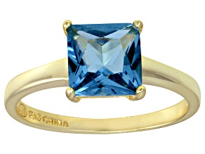 Bella Luce® 3.33ct Apatite Simulant 18k Yellow Gold Over Silver Solitaire Ring