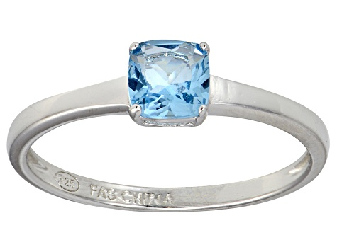 Bella Luce® 1.05ct Cushion Apatite Simulant Rhodium Over Silver Solitaire Ring