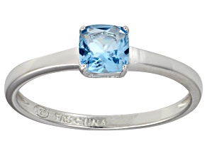 Blue Cubic Zirconia Rhodium Over Silver Solitaire Ring 1.05ct